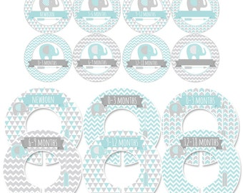 Storage Labels and Clothing Dividers Gift Set for Baby with Elephants and Arrows in Blue and Gray - CDBS003