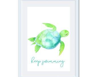 Digital Printable Sea Turtles Wall Art with Coastal Nautical Beach Design Keep Swimming CA001
