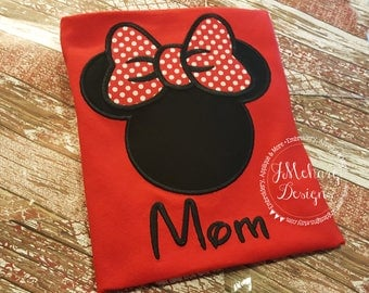 Custom Embroidered Girl Mouse Vacation Shirt for the Family! 879 black red