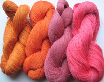 Linen Yarn Red Orange Pink 400 gr (14 oz ), Cobweb / 1 ply, each hank contains approximately 3000 yds