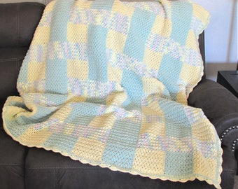 "YELLOW & GREEN STRIPE Crocheted Afghan - 65"" x 67"""