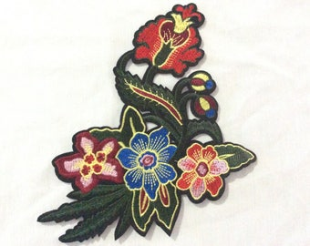 Flower Patch,  Flower Embroidered Patch Appliqué, Iron On Patch, Flower Patch USA Seller