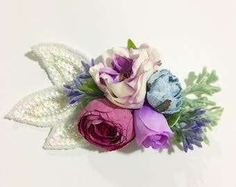 Pink, Blue and Purple Flower Wrap, Crown, with a white beaded applique on pink nylon headband, mermaid