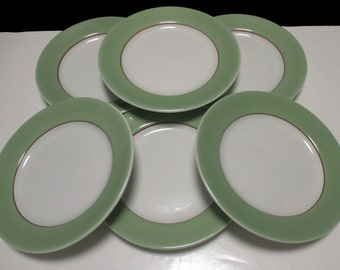 Sterling  China Company - Wide Celadon Green Band and Gold Band Restaurant Hotel Ware Diner - Dessert Plates - Set of 6