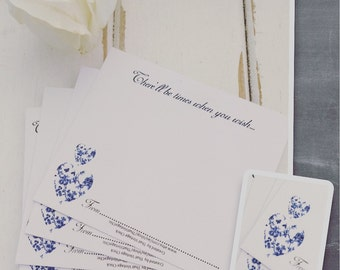 "Wedding Wishing Well Cards Guest Book Alternative - 100 Guest Wishes Cards ""BLUE TOILE""  OR Pen & Paper Pack"
