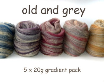 Blended tops - Merino - Tussah silk - 100g/3.5oz - combo spin - gradient pack - OLD AND GREY