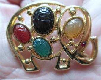 Elephant Scarab Pin Brooch Gold Tone