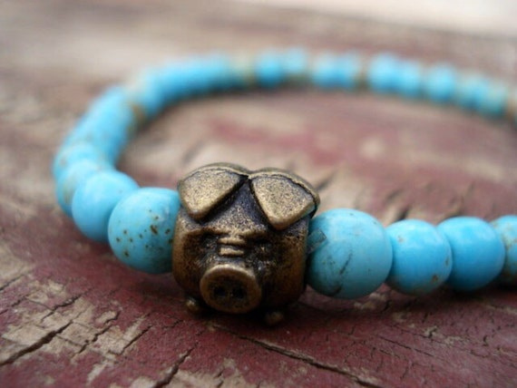Pig Bracelet, Turquoise Bracelet, Pig Jewelry, Animal Jewelry, Gift For Her, Jewelry For Girls, Fun Jewelry, Stretch Bracelet, Bead Bracelet