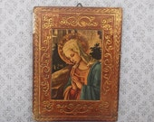 Antique Wood Icon, Madonna, Virgin Mary, Our Lady, Icon, Italian Religious Picture, Altar, Shrine