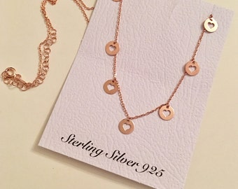 Sterling Silver 925 Silver Open Heart Charms Necklace in rose gold, My Heart, Love, Easter Gifts, Birthday Gifts, Gift for Her, Rose Gold