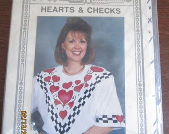 Hearts and Checks Iron-on Pattern