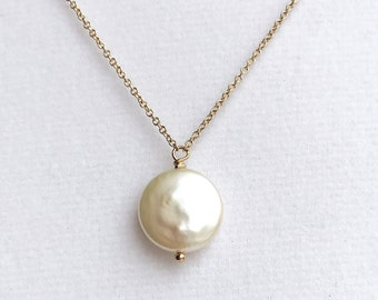Freshwater Coin Pearl 14k GoldFilled Chain Necklace