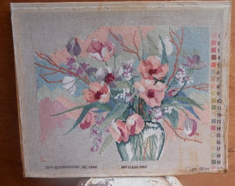 Vintage Original Art Handmade Needlework Needlepoint Flowers in Vase Soft Muted Pastels Embroidery 3D Stretched Canvas by Dimensions