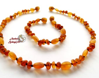 "SALE-> Set of Cognac Baltic Amber Teething Necklace 12.5""- 13.0"" and Bracelet / Anklet 5.5""- 5.9""- Unpolished Amber Beads - Screw clasp, 33R"