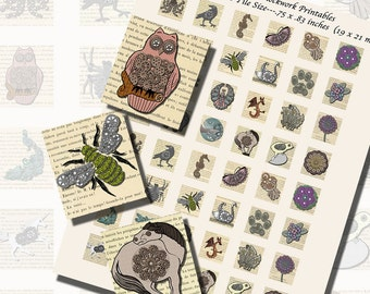 Automatons and Clockwork Animal Printables, SCRABBLE TILE SIZE (.75 x .83 Inches or 19 x 21 mm), 48 Images Total