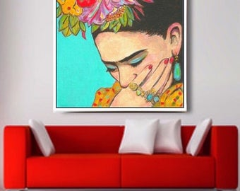 30% Off Today - FRIDA KAHLO Framed Print Canvas Gallery Wrap Mexican Folk Art Dorm Corporate Art Painting Poster Home Decor Wall Art Giclee