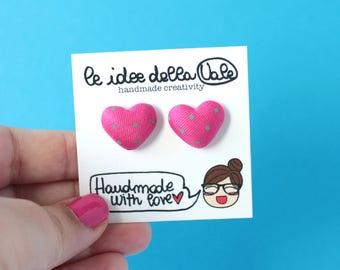 Heart Earrings - Polka dots - Hot Pink and Green