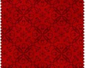 Christmas Fabric/Maroon Snowflakes on Red/Cotton Sewing Material/Quilt, Apron, Pillowcase, Craft/Fat Quarter, Half By The Yard, Yardage