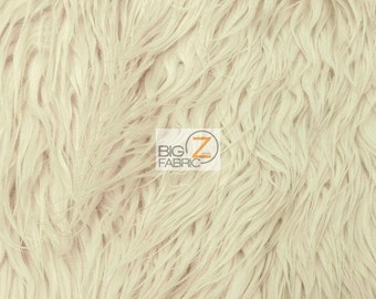 """Solid Mongolian Faux Fur Fabric - BEIGE - Sold By The Yard 60"""" Width Costumes Accessories Clothing"""