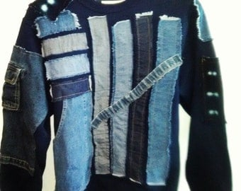 Indigo Bytes... Rustic Sweatshirt w/ Deconstructed Elements