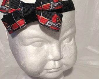 U of L headband baby girl headband toddler headband baby headband newborn headband bow hair bow