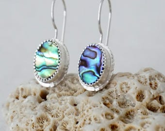 Abalone Shell Oval Earrings - Sterling Silver - Abalone Jewelry, Shell Jewelry