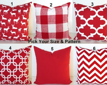 RED CHRISTMAS PILLOWS Red Decorative Throw Pillows Red Buffalo Plaid Holiday Throw Pillow Covers Red Christmas Pillow Covers home decor