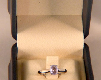Women's certified 14k white gold engagement ring with 0.77ct Purple Sapphire Oval center