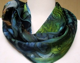 Silk scarf handpainted Shawl Wrap Accessory - OOAK- Unique gift woman- Made in the NY Hudson Valley- Ready to Ship- textured silk
