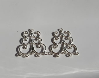 2 Pieces Large 925 Sterling Silver Component Station, Chandelier For Earrings 26mmx19mm
