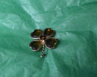 Vintage Costume Irish Shamrock Brooch that Looks like a Four Leaf Clover