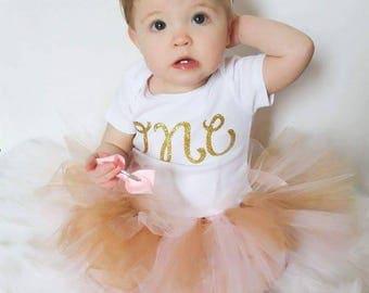 Gold Glitter One Bodysuit - Gold One Birthday Outfit - 1 st birthday Bodysuit - Cake smash
