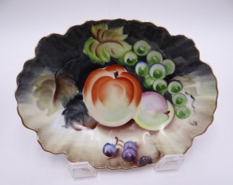 1950s Lefton Hand Painted Jewelry or Ring Dish Nut Dish Candy Dish