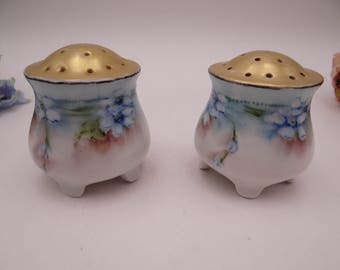 Vintage Hand Painted Austrian Blue Salt and Pepper Shakers