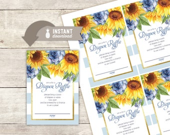 """Diaper Raffle Inserts: Sunflower Stripe Baby Shower Design - 4 (3.5"""" x 5"""") Cards on an 8.5"""" x 11"""" Page - Printable File"""