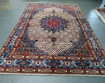 Persian Rug - 1970s Hand-Knotted Moud Rug (1667)