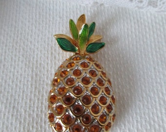 Swarovski Pineapple Pin Brooch Gold Jeweled Green Retired