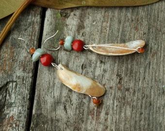 Seashell dangle earrings, Red fruit seeds, Natural materials, Boho, Mother of pearl earrings, Beige red blue, Silver color, Long earrings