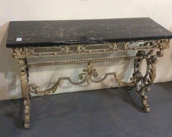 Hall or console table with mirror, great iron scroll work, egyptian marble