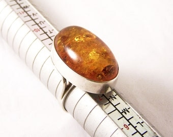 Vintage Sterling Silver Amber Ring, Oval Amber Ring, Amber Ring, Vintage Silver Amber Ring, Modernist Ring, Size 7.75, Size P