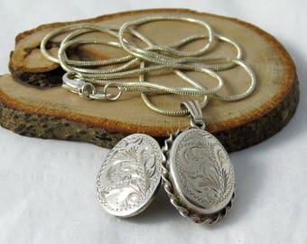 Vintage Sterling Silver Locket Necklace, Engraved Silver Locket, Oval Locket Necklace, 19 Inch Chain, 1980