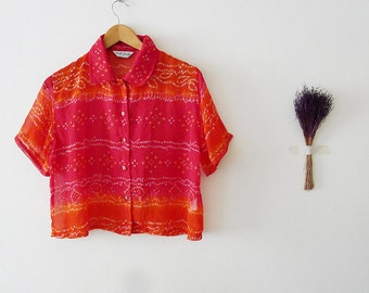VTG Colorful pink Indian chiffon saree crop top,summer ombre blouse,short sleeve with collar,folk art,hippie,bohemian, Made in India -Medium