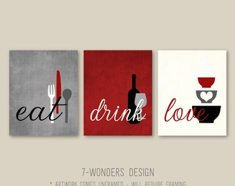 Kitchen Wall Art Print Set - Eat Drink Love -  Rustic Red, Grey, Black, Cream // Modern Kitchen Decor // Set of (3) Many Sizes // Unframed