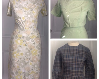 Vtg 50s Pencil Dress Lot of (3) Cotton Handmade