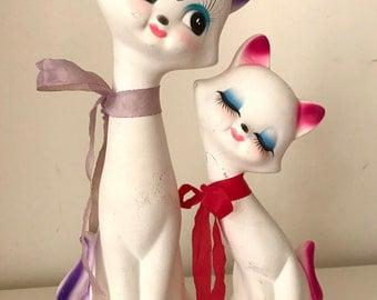 SALE - Vintage Kitty lovers plaster figurines