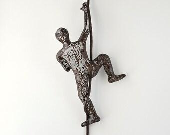 Wall hanging, Climbing man on rope, home decor, metal sculpture, wire art, Contemporary art, 3d wall art