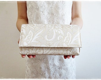 Sale Ivory clutch purse, Gold clutch purse, Evening purse, party purse, bridesmaids clutch wedding gift