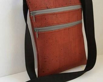 Burgandy cork crossbody bag