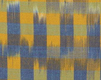 30% OFF! Checkered Past Lantern Anna Maria Horner Loominous for Free Spirit Fabrics Blue and Gold Fabric Apparel Fabric Yarn Dyed Woven Ikat