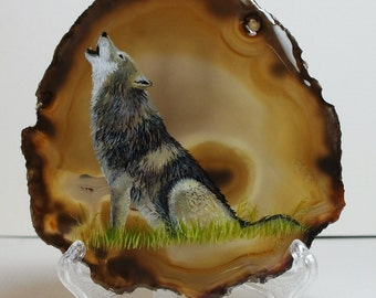 Wolf Painting on Agate